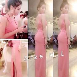 Đầm Dạ Hội Hở Lưng V Váy Xẻ Quyến Rũ Hồng Nổi Bật HS-D1095