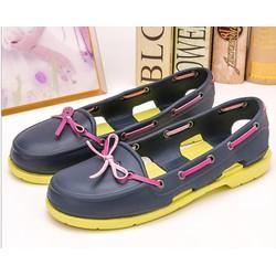 Giày crocs beachline boat nữ màu xanh đen đế cốm