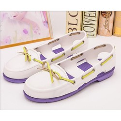 Giày crocs beachline boat màu trắng đế tím