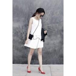 set chân váy xòe và áo xếp ly lưng