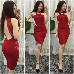 Đầm body cổ yếm lai ren hở lưng so sexy - DKN780