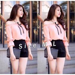 Set nguyên bộ áo trể vai quần short xinh xắn - SET607