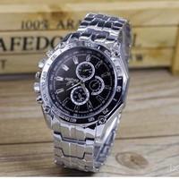 DH05 Đồng hồ đeo tay nam, mặt tròn cổ điển, phong cách lịch lãm