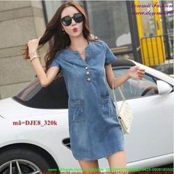 Đầm jean công sở cổ tròn phối túi tự tin sành điệu DJE8
