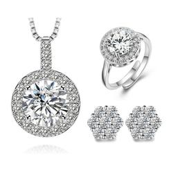 Bộ trang sức bạc đính kim cương S001