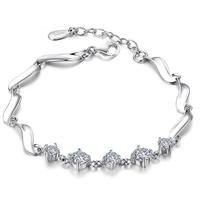 Lắc tay bạc đính kim cương S016