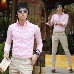 Aó sơ mi nam màu hồng phấn vải đẹp kate ý dành cho nam