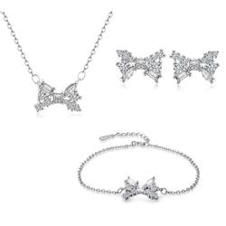 Bộ trang sức bạc hình nơ đính kim cương S004