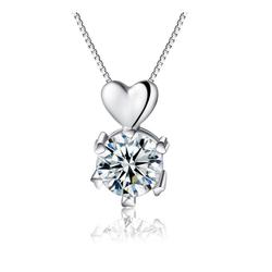 Dây chuyền bạc trái tim đính kim cương S024