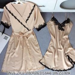 Đầm ngủ kèm áo choàng phi lụa hàng quảng châu xuất khẩu - DN176