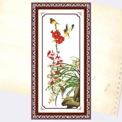 T5 - Tranh thêu hoa lan và đôi chim sẻ - 100