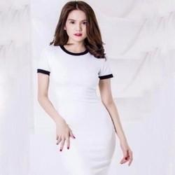 Đầm body Ngọc Trinh đơn giản phối viền đen cá tính trẻ trung DOV699