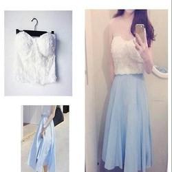 Sét áo cúp ngực ren và chân váy xòe xinh xắn SEV371