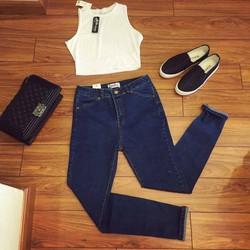HÀNG THÁI: Quần jeans 2 da lưng cao was rách
