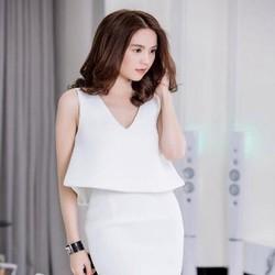 Sét áo kiểu xòe và chân váy bút chì trắng trẻ trung SEV325