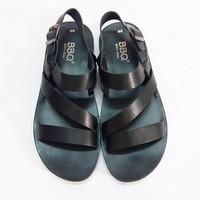 Giày sandal da bò BBQ đen