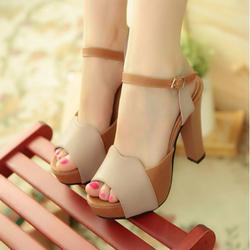 HÀNG LOẠI 1- CHẤT LIỆU NGOẠI: Giày cao gót màu da bò phối kem