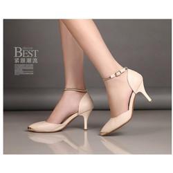 HÀNG LOẠI 1- CHẤT LIỆU NGOẠI: Giày cao gót quai lò xo