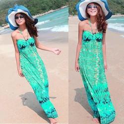 Đầm đi biển nữ dáng dài, họa tiết nổi bật, thời trang hiện đại-D2923