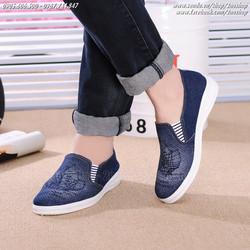 Giày slip on vải Jeans thời trang Hàn Quốc - Mã số: SH1605