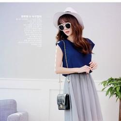 Set áo xanh và váy voan lưới cho mùa hè