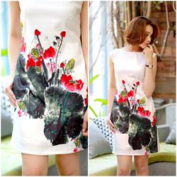 SỈ - LẺ ĐẦM THIẾT KẾ: Đầm suông hoa sen đỏ