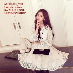 Đầm bầu Hàn Quốc ren hoa tay dài đẳng cấp sang trọng zzDB573