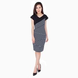 Đầm ôm body phối sọc - Trắng đen - CIRINO