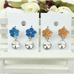 Bông tai nữ hoa nhiều màu đính đá siêu xinh