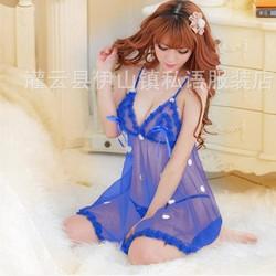 Đầm ngủ phối hoa xanh coban