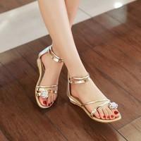 Sandal quai vàng đính đá P2169