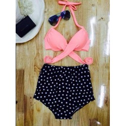 [SM Quẩy cùng hè] Bikini áo dây cột quần cạp cao chấm bi
