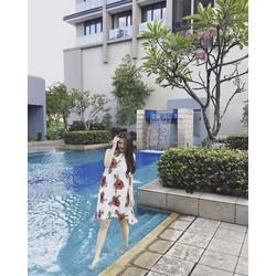 Đầm Suông Sát Nách In Hoa Hồng D137
