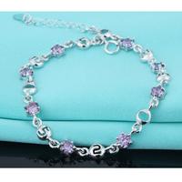 Lắc tay bạc đính kim cương S029