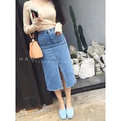 Chân váy jeans xẻ trước tua rua