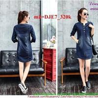 Đầm jean công sở phối túi xẻ trước sành điệu DJE7