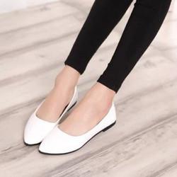 Giày búp bê trơn đơn giản màu trắng BB20-4 - bảo hành keo trọn đời