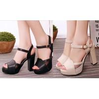 Giày sandal đế vuông quai ngang phối lưới
