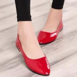 Giày búp bê trơn đơn giản màu đỏ BB20-3 - bảo hành keo trọn đời