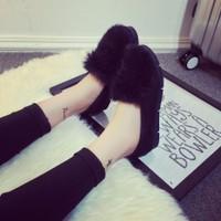 giày slip on lông cá tính Mã: GC0098 - ĐEN