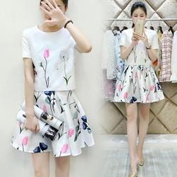 Set váy xòe + áo croptop tay ngắn – DV2548