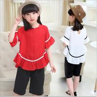 Bộ áo và quần cotton cho bé gái từ 3-16 tuổi V311
