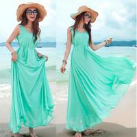 Đầm voan hai dây nữ, dáng dài điệu đà, trơn màu, thời trang mới-D2365