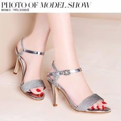Giày cao gót hỡ mũi đính kim tuyến - Màu vàng kim - 1484