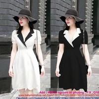 Đầm công sở kiểu cổ vest phối màu thiết kế xòe xinh đẹp DZ384