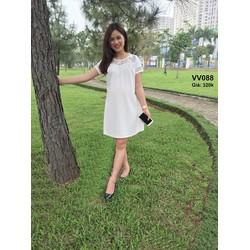 Đầm bầu màu trắng tinh khôi phối ren siêu trẻ trung sành điệu VV088