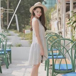 Đầm Suông Đuôi Cá Chấm Bi - Trắng - Đen - D133