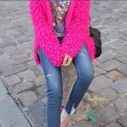 quần jeans rách ống suông dành cho mẹ bầu sành điệu