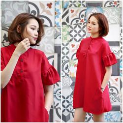 SỈ - LẺ ĐẦM THIẾT KẾ: Đầm đỏ tay bèo