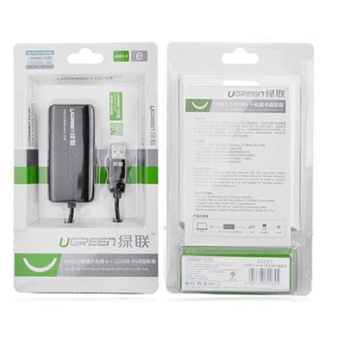 Bộ chia 3 cổng USB 3.0 tich hợp cổng Mạng Chính hãng Ugreen 20266 3